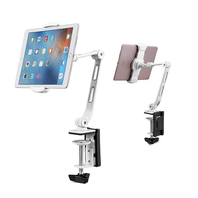 Soporte para Tableta Soporte De Abrazadera Soporte De 360 Grados Ajustable con Abrazadera para Smartphone Y La Mayoría De Las Tabletas De 13 Pulgadas (34cm) ...