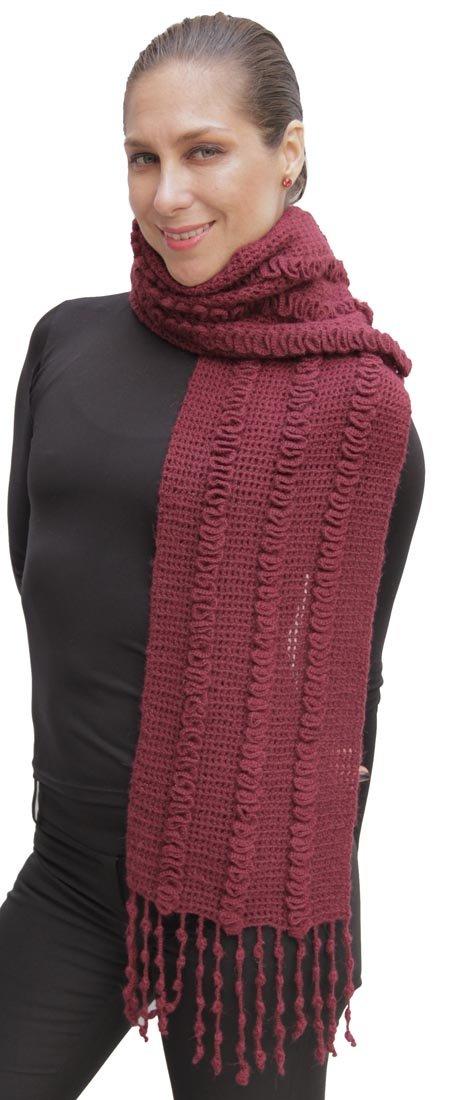 Crochet Superfine Natural Alpaca Wool Chunky Scarf Unisex (Burgundy)