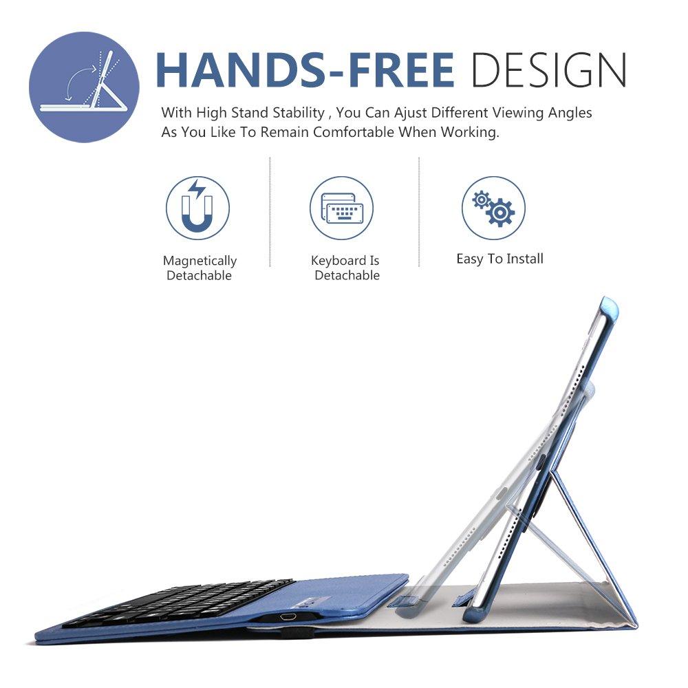 Keyboard Case iPad 9.7(6th Gen, 5th Gen) - iPad Air 2&1 - iPad Pro 9.7-360 Rotating - Detachable Keyboard - PU Leather Stand - iPad Case with Keyboard, (Blue, 9,7)