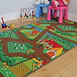 "Fun Kid's Country Farm Life Mat Animal and Tractor Area Rug 3'1"" x 4'4"""