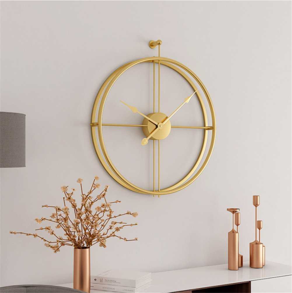 Wanduhr Moderne Minimalistische Atmosphärische Kunst Stumm Doppelseitige Zeiger Persönlichkeit Kreative Home Schlafzimmer Wohnzimmer Büro Uhr,Gold