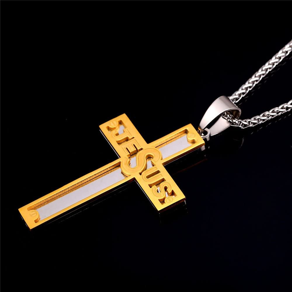 18K Gold//Ion-plating Blue Pendant Customizable Jewelry Men Boys Simple Cross Necklace with Chain 22 Stainless