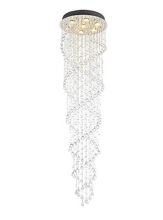 Double Spiral Crystal Chandelier Lighting, Dst Modern Round Luxury Raindrop LED Ceiling Light Flush Mount Pendant Lamp for Living Room, Foyer, Hallway, Entryway, Romantic Wedding, Size D20 X H73