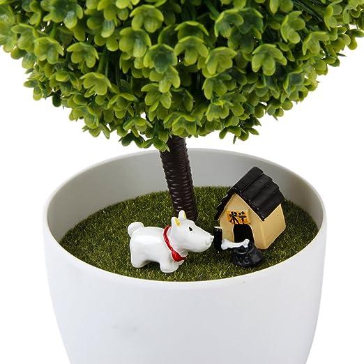 3pcs Dollhouse Miniatura Bonsái Artesanía Jardín Paisaje de Resina DIY Decoración (Perro, casa y hueso): Amazon.es: Juguetes y juegos