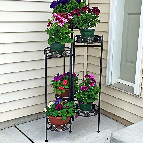 Sunnydaze 6-Tiered Indoor/Outdoor Folding Plant and Flower Stand, 45 Inch Tall - Folding Planter