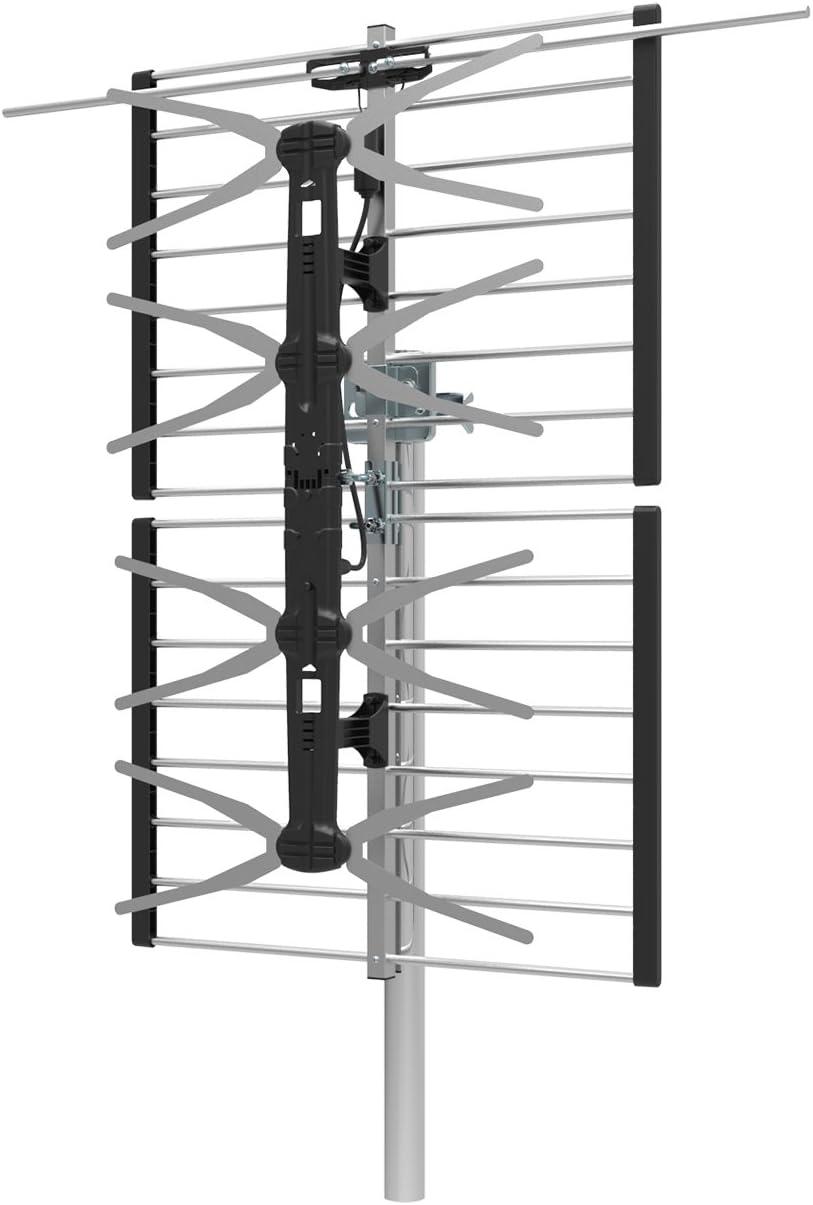 1byone Digital al aire libre/techo antena HDTV, VHF/UHF de alta ganancia para antena de TV, 65 millas Range plegable Panel Antena Antena de TV, Bowtie