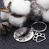 NUBARKO Loss of Pet Memorial Gift Keychain Necklace Jewelry Sympathy Gift Remembrance Angel with Paw Print Family Dog Cat Pet Key Ring