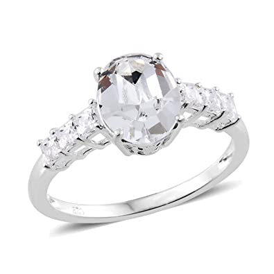 J FRANCIS Women Platinum Plated Sterling Silver Made with Swarovski® Zirconia Halo Ring Size Q zo8Gnbux