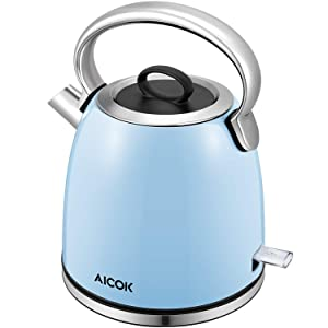 Electric Kettle Aicok 1500W, 1.7-Liter Brushed Stainless Steel Kettle with Anti-oxidant Blue Coating, Retro Style with Modern Feature Tea Kettle, Auto Shut Off