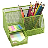 VIZ-Pro Metal Mesh 6 Compartment Office Desktop Supplies Organizer,Green