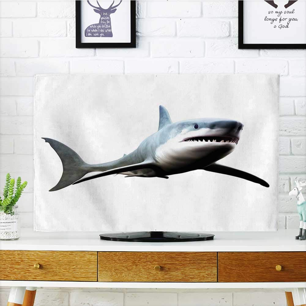 Leighhome Cord Cover for Wall Mounted tv Shark of Wild Sea Creature Character Computer Art Artifical Blue Grey White Cover Mounted tv W30 x H50 INCH/TV 52'' by Leighhome (Image #1)