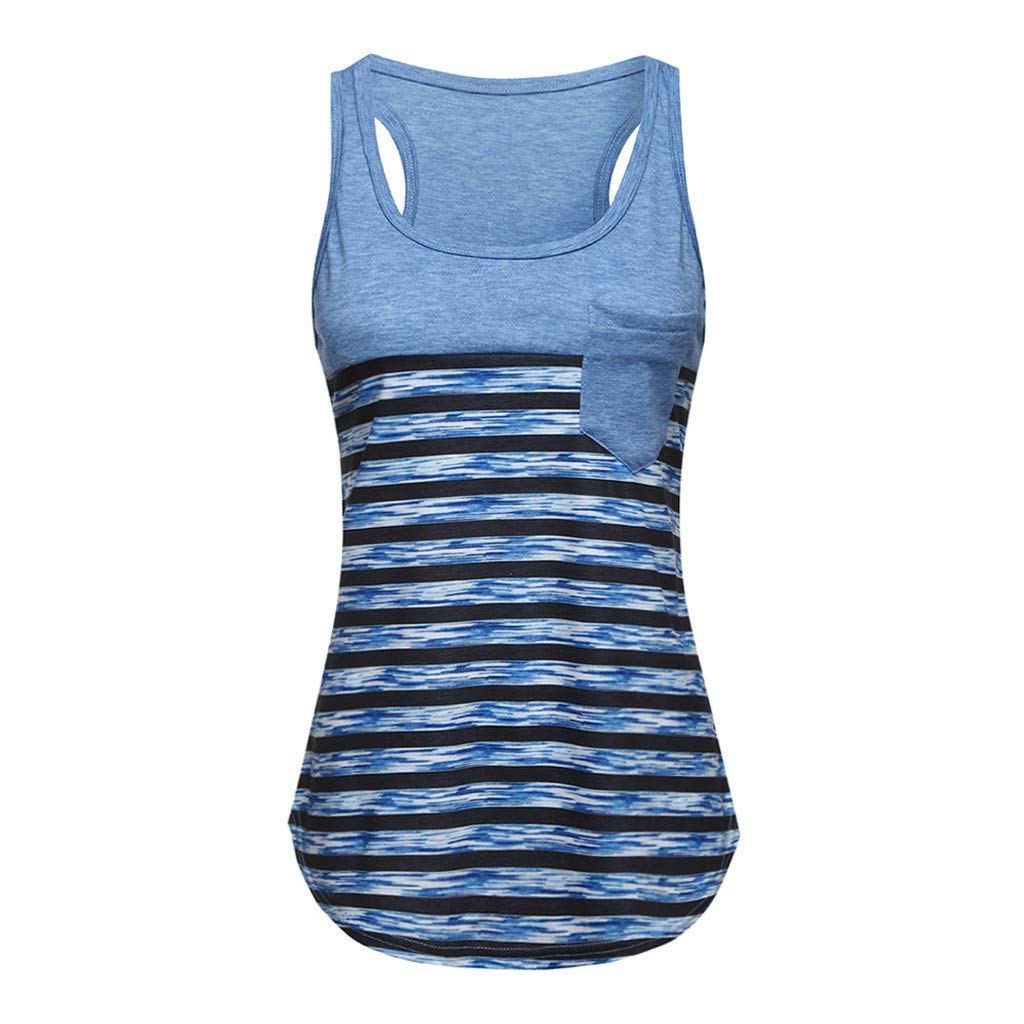 Kalinyer Women's Summer Striped Racerback Cami Tank Tops Sleeveless Tunic Tops T-Shirts Activewear Workout Blouse with Pocket Blue