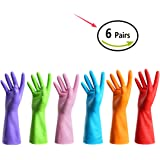 URSMART Reusable Waterproof Household Rubber Latex Cleaning Gloves (6 pairs M)
