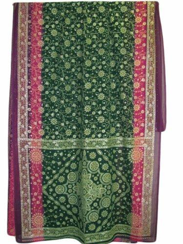 Temple Saree - Green Pink Purple Floral Gold Foil Borders Indian Fabric Sari Saree (44