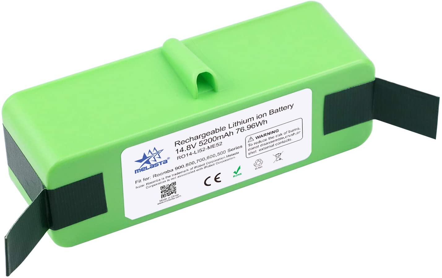 MELASTA 14.8V 5200mAh Lithium ion Battery Replacement for iRobot Roomba 980 690 960 985 695 680 685 652 665 670 655 650 770 801 805 850 877 870 880 890 860 895 891 (UL&CE Certification Battery Cells)