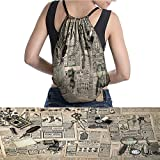 """warmfamily Drawstring Backpack Antique Accessories Design Old Fashion M 11.8""""x15.3"""""""