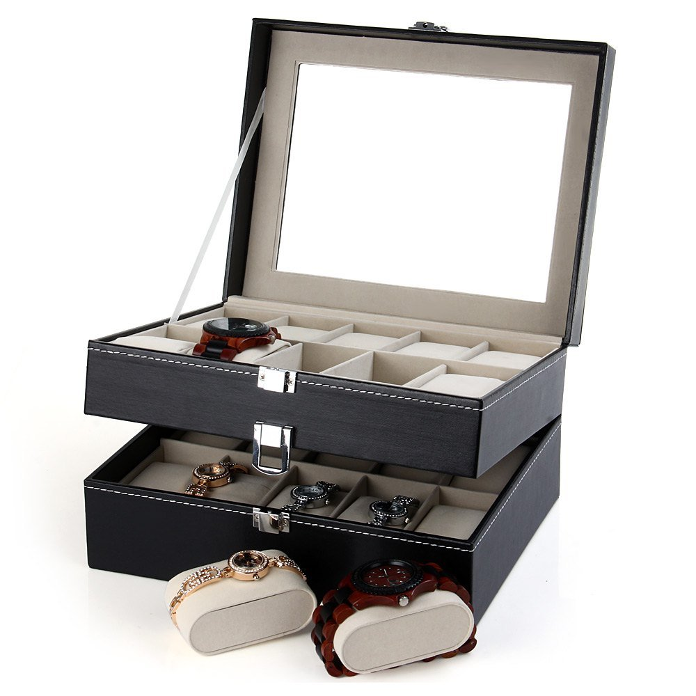 CXP 20 Grid Watch Storage box Window Leather a Variety of Jewelry gift Finishing box Practical