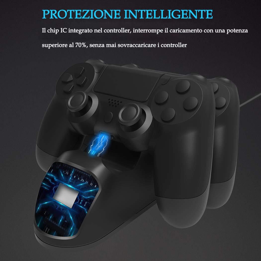 PS4 Controller Gaming Caricabatteria,Stazione di Ricarica con Indicatore LED, Caricabatterie PS4 Funziona con Joypad, PlayStation 4, PS4 Slim e PS4 Pro