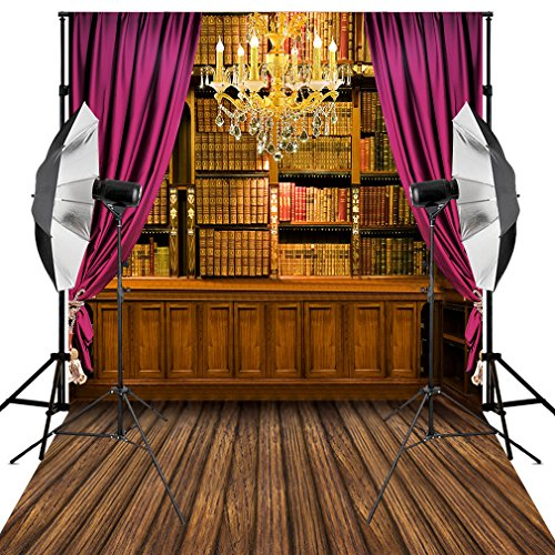Kooer 5X7ft Home Library for Students Photography Backdrops Golden Chandelier Wooden Floor (Chandelier Library)