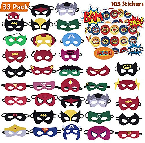 Superhero Masks 33pcs Plus 105 Stickers Party Favors for Kids Cosplay Felt and Elastic, Superheroes Birthday Party Masks with 33 Different Types Perfect for Children -
