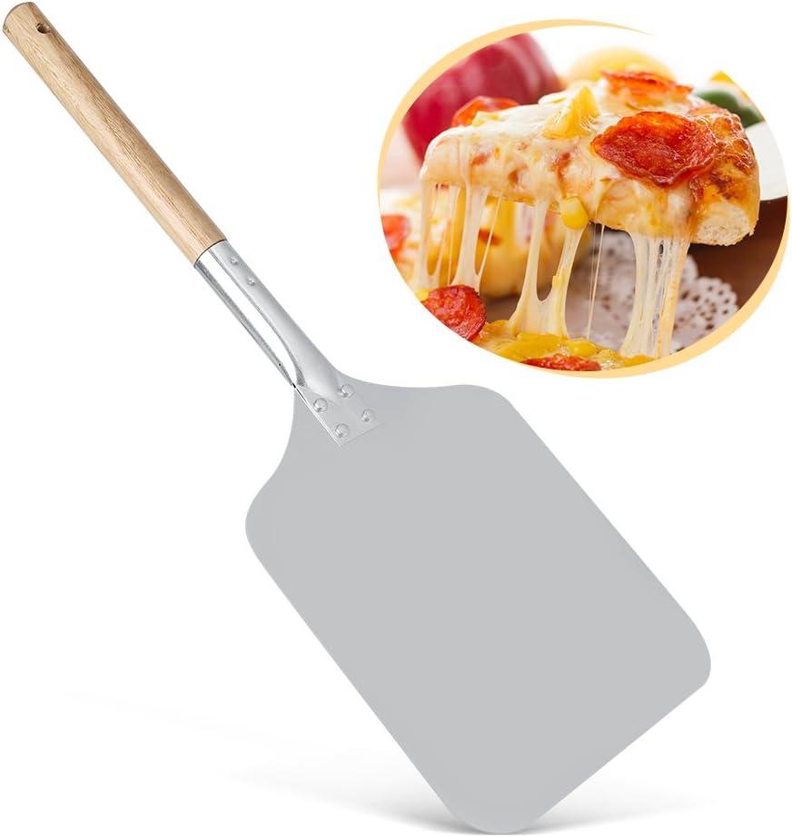 Nikou Aluminium Pizza Transfer Tray Shovel with Wood Handle Kitchen Restaurant Baking Tool