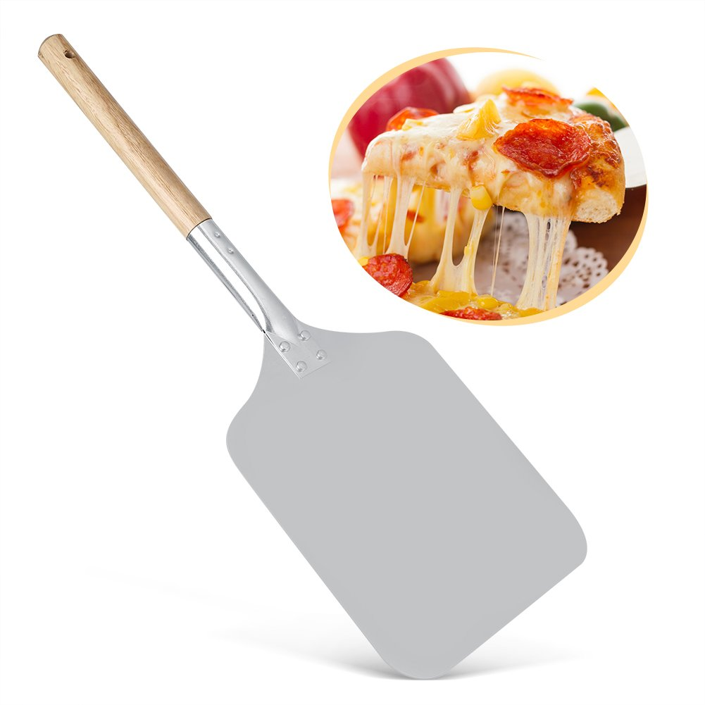 Delaman Aluminium Pizza Holder Shovel Transfer Tray Shovel Peels with Wood Handle Kitchen Restaurant Baking Tool