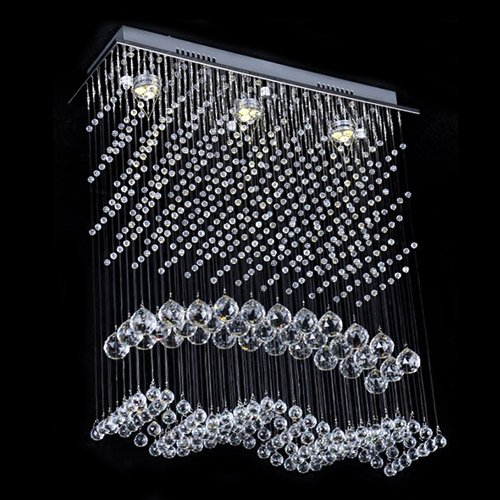 LightInTheBox® Modern Crystal Ceiling Light with Warm Yellow Light Source, Flush Mount, Chandeliers for Hallway, Study Room/Office with Bulb Included