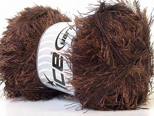 - LG 100 gram Chocolate Brown Eyelash Yarn Ice Fun Fur 164 Yards 22708