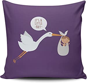 Healbrighting Pillow Covers Baby Crane Lovely Stork Home Decorative Pillowcase Square 18 x 18 Inch Double Sides Pattern Throw Pillow Cases