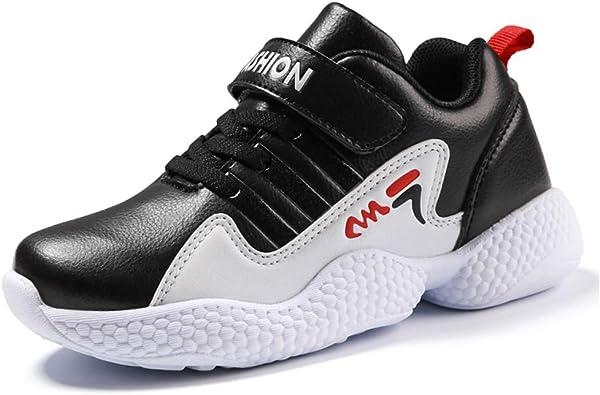 Zapatillas Deportivas para niños Zapatillas para Correr con Velcro Niños Chicas Zapatillas Antideslizantes con Suela Gruesa Zapatillas Deportivas de Cuero para niños al Aire Libre, Negro y Rojo: Amazon.es: Zapatos y complementos
