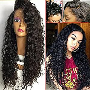 GAMAY HAIR Lace Front Human Hair Wigs Brazilian Virgin Curly Hair Full Lace Human Hair Wigs 130%-180% Density Lace Front Wigs with Baby Hair for Black Women(22inch with 180% density)