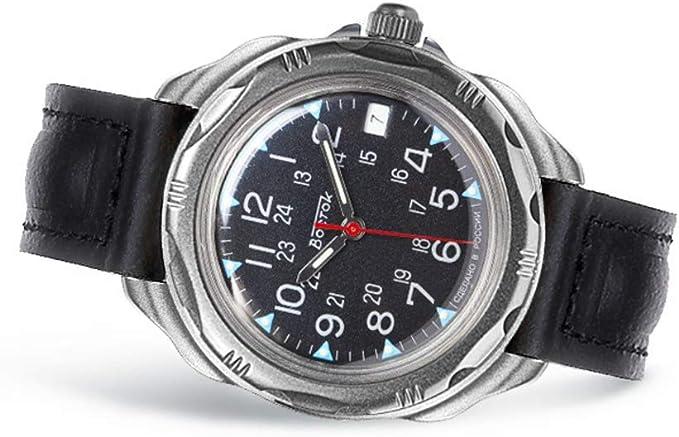 Amazon.com: VOSTOK | Komandirskie 216783 Commander Russian Military Mechanical Wrist Watch | WR 20 m | Fashion | Business | Casual Men's Watches | Leather Band B: Watches