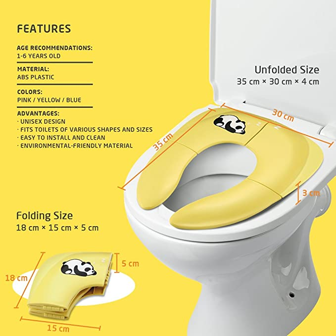 Jerrybox Tapa WC Plegable para Niños, Amarillo, Asiento Inodoro Reductor Infantil como Protector, Orinal de Bebé con Dibujos, Compacto y Portátil para ...