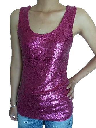 923808b865b4f1 Unique Boutique - Pinkfarbenes Pailletten-Shirt Gr.32-36 Stretch Pailletten -Top