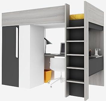 High Quality Trasman BO1 Hochbett Mit Schrank Und Schreibtisch, Liegefläche 200x90 Cm,  Melaminholzspanplatten, Grau/ Nice Design