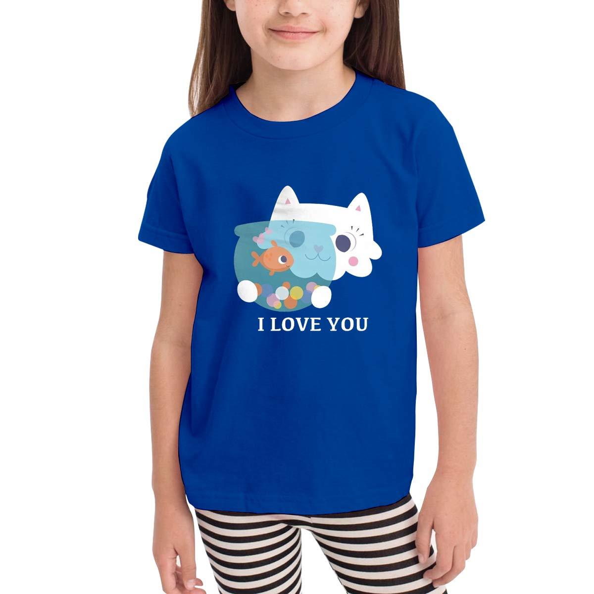 I Love You Cat Kiss Fish Toddler Kids Short Sleeve Crew Neck Shirt