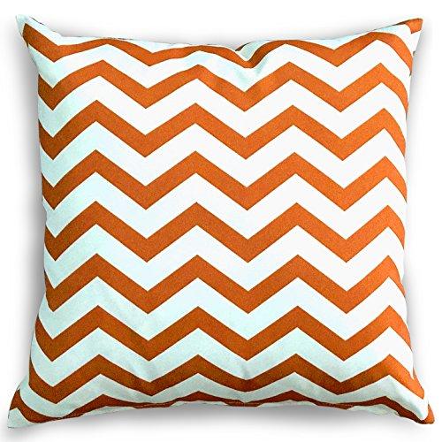 Decorative Square 18 X 18 Inch Throw Pillows (Indoor/Outdoor)   Blue, Green  U0026 White Stripe Cushion (Zig Zag Chevron Rust)