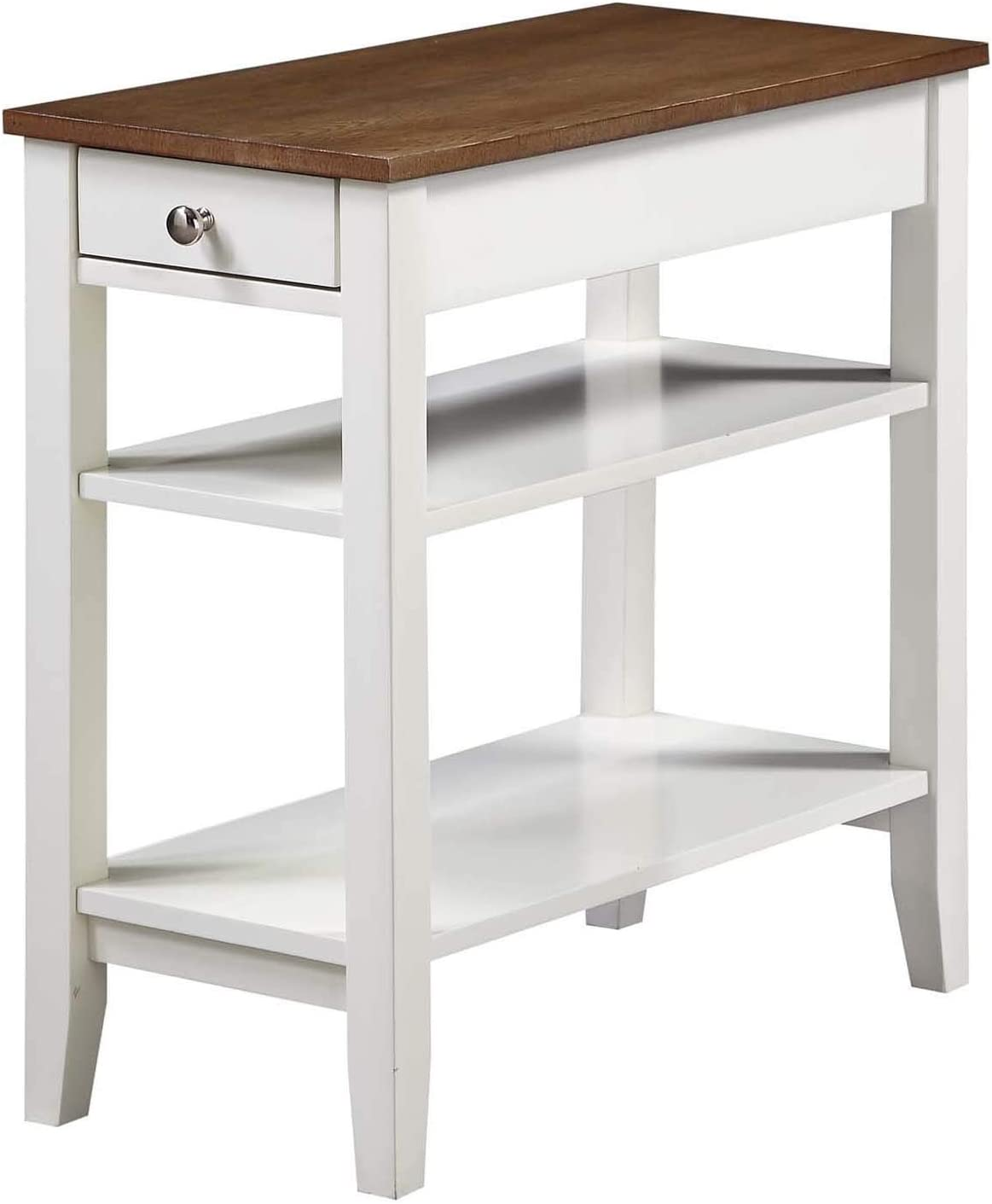 Convenience Concepts American Heritage Three Tier End Table With Drawer, Driftwood / White