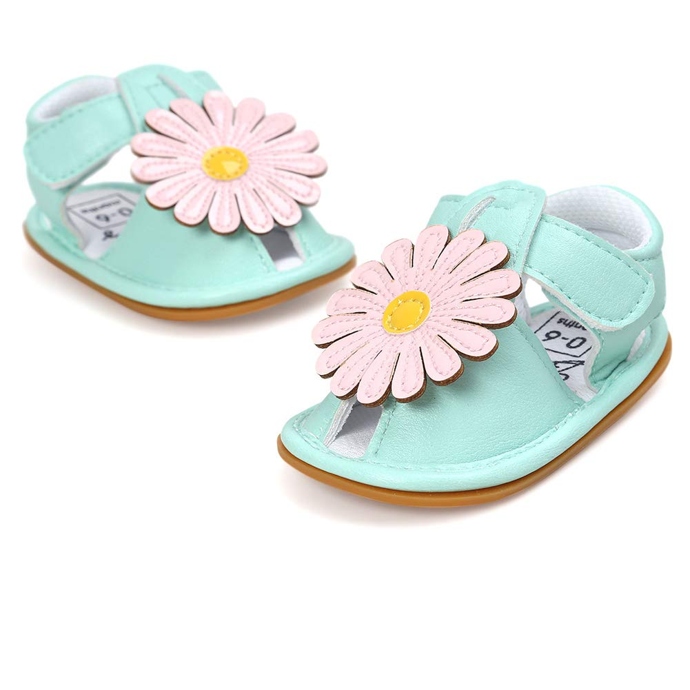 Richea Infant Baby Flower Summer Flat Sandals Anti Skid Closed Toe Princess First Walker Shoes