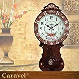 AYYA Watch Movement Wood Fashionable Creative Clock Extra Large Clocks Silent Movement Shell Decor Pendulum Clock Brown