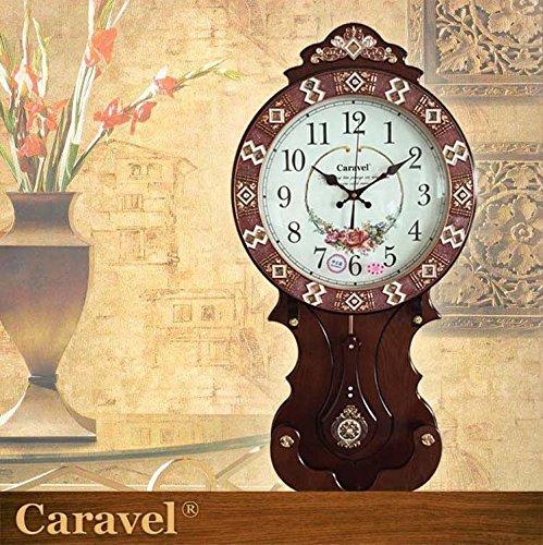 AYYA Watch Movement Wood Fashionable Creative Clock Extra Large Clocks Silent Movement Shell Decor Pendulum Clock Brown