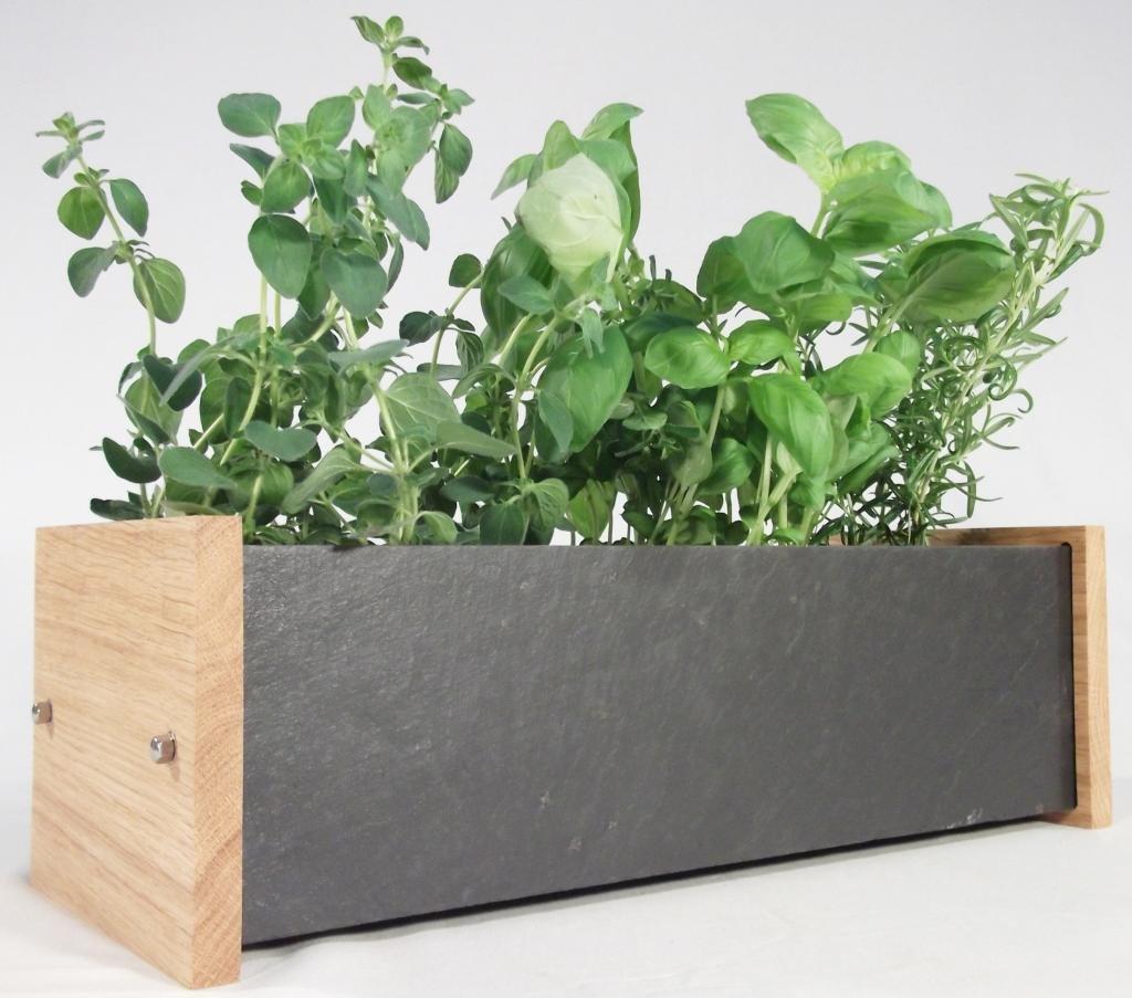 Handmade Natural Slate U0026 Solid Oak Window Box   Includes Chalk U0026 3 Slate  Markers (windowsill Herb/flower Kitchen Garden Planter Trough):  Amazon.co.uk: ...