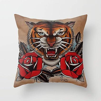 Amazoncom Cqxinfuxi Pillowcases Old School Tiger Roses Tattoo