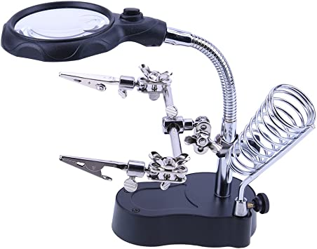 Helping Hand Soldering Stand W// LED Light Clip Magnifier Magnifying Glass WT