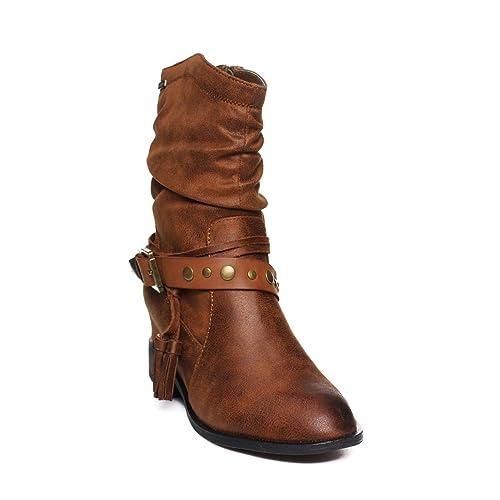 Mustang 57640 Bota CAÑA Arrugada Mujer: Amazon.es: Zapatos y complementos