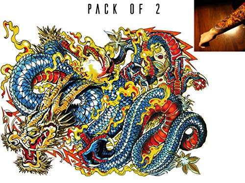 Novu Ink Dragon Temporary Tattoos | PACK OF 2 | Fake Tattoos | Art Design Transfers/Stickers | For Body, Arm, Leg etc | (21cm x 17cm) (Dragon Tattoo Designs)