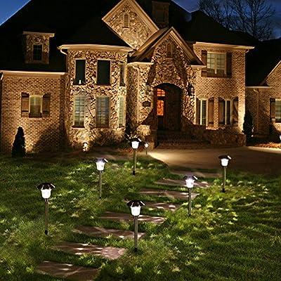 Hosus Solar pathway lights outdoor + Stainless steel lights + LED lights + Water-proof lights, Solar Garden Llights or Patio Lights or Yard Lights or Driveway Lights : Garden & Outdoor