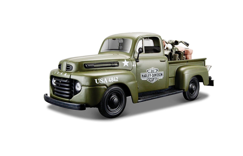 1948 Ford F-1 Pickup Truck Die-cast 1:24 Harley Davidson 8 inch Black w Orange