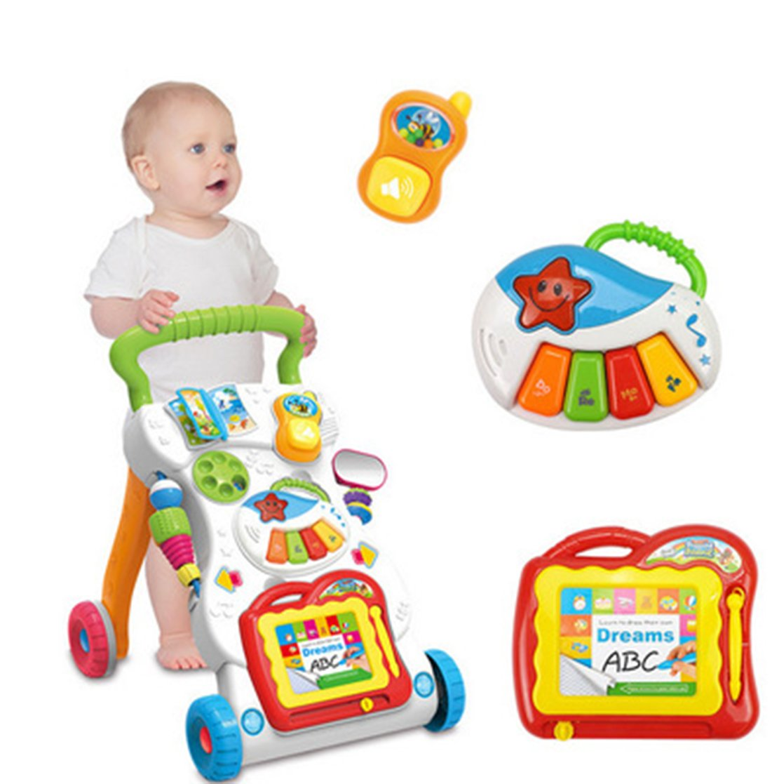 Bigbuyu Activity Baby Walker Sit-to-Stand Learning Walker Toddler Toys for 1-3 Years Old, Push and Pull Toy Learn-to-Walk Cart Toys
