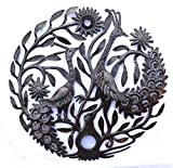 Metal Yard Sculptures, Garden Peacocks, Handmade in Haiti 23″ X 23″